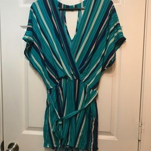 NWOT Turquoise Striped Romper Size L